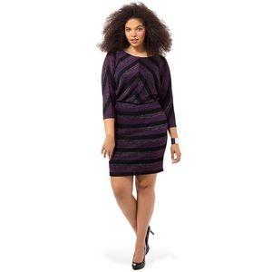 LONDON TIMES Knit Blouson Dress
